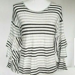Anthropologie Gray White Ruffle Sleeve Top Small